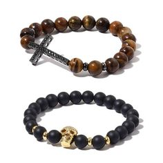 A beautiful set of two stretchable beads bracelets like this is something every woman must own in today's time. While one features round, black glass beads with skull charm with Chatoyant tiger eye beads and a cross charm, the other features a skull-shaped charm. Handcrafted, bracelets are stretchable measuring 7.5 inches and are finished in Black and Yellow Tone.