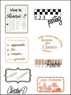 étiquettes rentrée sept Printable Labels, Free Printables, Pocket Scrapbooking, Paris Theme, Pocket Letters, Tampons, Happy Planner, Planner Stickers, Mini Albums