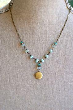 Anna. blue freshwater pearl,flourite,rhinestone beaded locket necklace. tiedupmemories