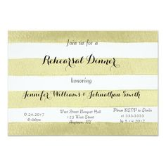 Gold Stripe Rehearsal Dinner Invitations
