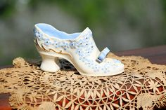 Vintage Victorian Ceramic Shoe Blue And White Floral With Gold Trim - pinned by pin4etsy.com