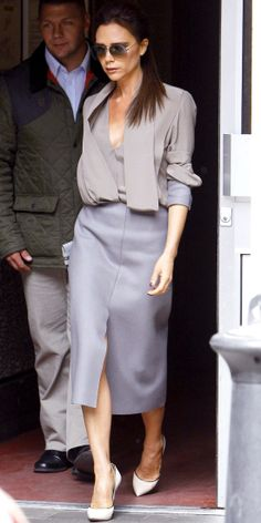 Beckham styled her gray separates with piped stilettos while in London.