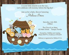 Noah's Ark Baby Shower Invitation, Miracle, Religious, Gender Neutral, Twins Option, 10 Printed Invites, Free Ship, NARK