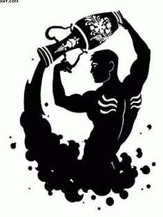 Black Ink Aquarius Tattoo Design