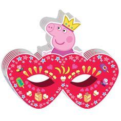 """Праздничная маска """"Пеппа принцесса"""", в наборе 6 штук."""