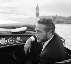 Paul Newman photographed on a Water Taxi, Venice 1963.