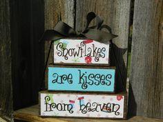 Christmas Wood Blocks Snowflakes Wood  Kisses by BuzzingBeesCrafts, $13.00