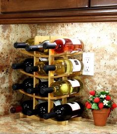 Wine Rack Bottle Holder Bar Kitchen Storage Liquor Home Decor Wood Display