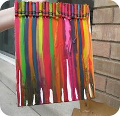 Melted crayon. Fun to do. Next time put several of the same color crayon together. It was easy to do though.