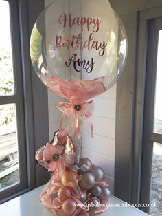 Organic style balloon centerpiece in a rose gold & shades of silver theme, with personalised bubble Balloon Flowers, Balloon Bouquet, Rose Gold Balloons, Balloon Arrangements, Balloon Centerpieces, Rose Gold Centerpiece, Masquerade Centerpieces, Balloon Gift, Balloon Ideas