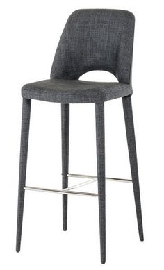 Modrest Williamette Modern Dark Grey Fabric Bar Stool