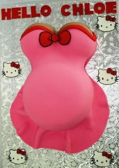 Pregnant Belly Baby Shower Cake In Hot Pink With Hello Kitty .