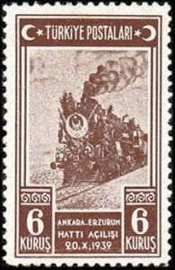 Locomotive 1939 - Turkish Memorial Stamp for Ankara - Erzurum Railroad Opening Ceremony