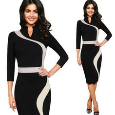 Women Clothing Office Lady Stand Collar Large Size Business Pencil Dress Sheath Casual Patchwork Black Work Dress
