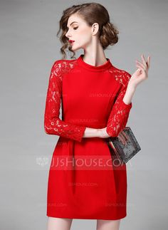 Above Knee Round Neck Cotton Spandex 95%Cotton 5%Spandex Stitching Long Sleeves Fashion Dresses