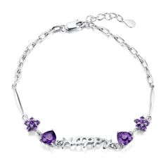 925 Sterling Silver Bracelet Jewellery With Hollow Happy Letter and Amethyst Heart And Flower Charms