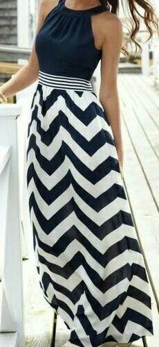 55b5b946122 Sleeveless Neck Hold Chevron Maxi Dress - Fashion and Love -- Vineyard Vines