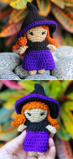 Cute And Fun Halloween Amigurumi Ideas.Zeena is a mini amigurumi witch, that is about 4,5 inches tall and loves to do magic all year long (but especially on Halloween). Her hat and dress are removable, so you can crochet her more outfits to change. She is 4,5 inches tall without the hat. #freecrochetpattern #amigurumi #halloween