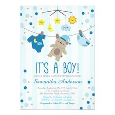 Teddy Bear Baby Shower Invitation, boy baby shower Card