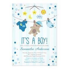 Teddy Bear Baby Shower Invitation, boy baby shower Card