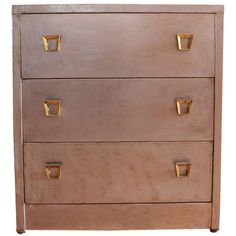 Stylish 1920's Metal Dresser With Brass Hardware