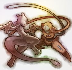 Mewtwo & Deoxys. Don't forget to like this Pokemon Facebook page for more cool Pokemon content: http://www.facebook.com/shinydragonairx