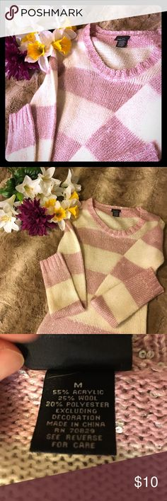 Rue 21 Adorable Pink and White Sequin Sweater  Rue 21 Size Medium Adorable Pink and White Sweater!! This Sweater has been pre loved but is in excellent condition...it has sequins throughout so is best to wear with a cali but is adorable bright, and feminine for any occasion  make me an offer !!  Rue 21 Sweaters Crew & Scoop Necks