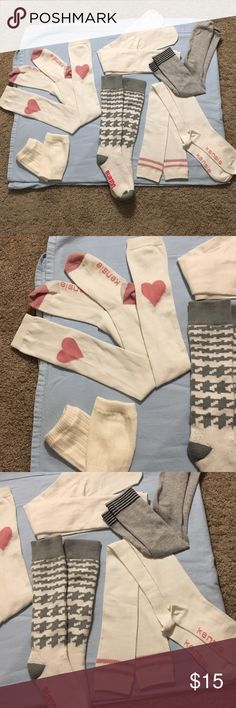 Bundle of 6 pairs of Socks🛍 Adorable ladies sock bundle. Comes with 2 Thigh High socks (pink/white hearts and stripes), 2 pair knee high socks ( white and grey with black stripes) 1 pair of burton high calf houndstooth socks;) (grey and white) and 1 pair of white short leg warmers. Kensie Accessories Hosiery & Socks