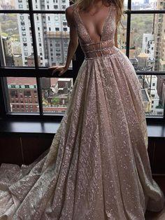 Sexy Prom Dresses V-neck Silver Organza Long Prom Dress/Evening Dress JKS076