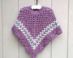 Niño de ganchillo poncho mantón crocheted de las por LurayKnitwear