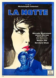 La Notte (1961) Starring: Jeanne Moreau, Marcello Mastroianni, Monica Vitti, Bernard Wicki. Directed by Michelangelo Antonioni.