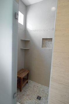 Shower inside tile.