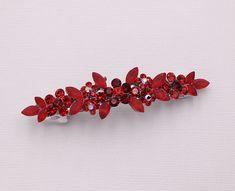 Bobby Pin Rhinestone Crystal Hair Clip Hairpin Jeweled Simple Burgundy Dark Red