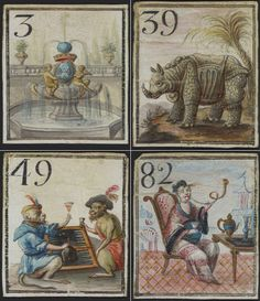 Four game cards from a Cavagnole Game Bag and Pieces (Jeu de cavagnole), French, about 1750, watercolor and gouache on vellum. The illuminated scrolls on display in the exhibit put today's cardboard bingo cards and chips to shame. The tiny numbered squares of vellum feature ornamental fountains; wine-drinking monkeys dressed in human clothes, playing backgammon; as well as the famed 18th-century rhinoceros Clara, who traveled Europe as a celebrity for 17 years.