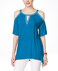 INC International Concepts Embellished Cold-Shoulder Blouse, Only at Macy's - Tops - Women - Macy's