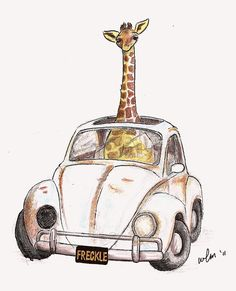 Freckle - 8x10 Whimsical Wall Art Nursery Decor Animal Jungle Giraffe Volkswagen Bug Beatle. $30.00, via Etsy.