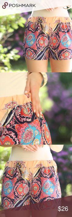 Peach Print Shorts ️info to follow Boutique Shorts