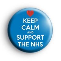 Keep Calm and Support the NHS Badge. Nurse, Nursing and nurses themed badges. Rainbow Badge, Red Love Heart, National Health Service, Badge Creator, Custom Badges, Button Badge, Badge Design, How To Make Buttons, Nurses