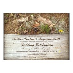 Country Wedding Invitations Rustic Camo and Wood Country Wedding Invitations