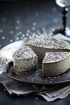 Black sesame cheesecake love that it looks like rock