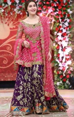 Beutifull bridal dress in shokin pink and dark purple color Model# W 1 – Nameera by Farooq Pakistani Engagement Dresses, Pakistani Wedding Outfits, Pakistani Wedding Dresses, Pakistani Dress Design, Bridal Mehndi Dresses, Dress Wedding, Pakistani Party Wear, Bridal Lehenga, Pakistani Designers