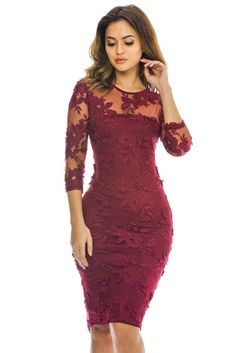AX Paris Womens Wine Floral Lace Midi Dress Glamorous Ladies