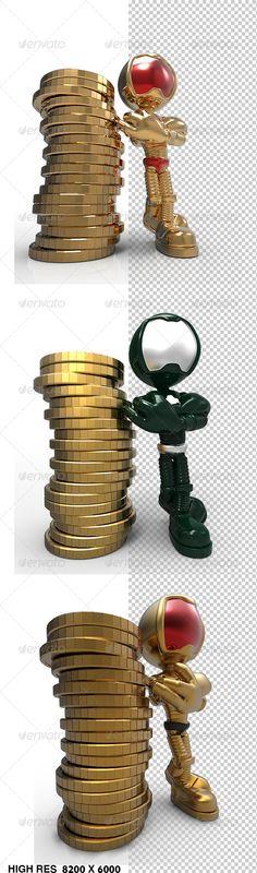 Golden Guy 3d Character Standing Beside Money Coins3 designs, Jpg
