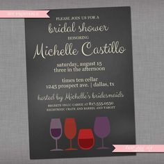 Chalkboard Wine Bridal Shower  Invitation  by TwoOneSixCreative