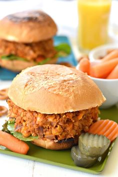 Comes together in 25 minutes, these protein-packed vegan chickpea Sloppy Joes are bursting with flavor and hidden veggies; perfect for your little ones. Burger Recipes, Veggie Recipes, Whole Food Recipes, Vegetarian Recipes, Vegan Meals, Pescatarian Recipes, Vegan Foods, Delicious Vegan Recipes, Healthy Dinner Recipes