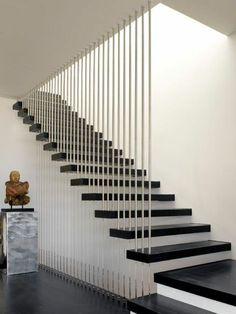 treppengestaltung modern mit  kontrastierende farben und materialien