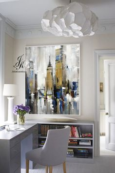 City Abstract Painting Artworks Cityscape Original Painting Modern Urban Abstraction Acrylic Abstract Painting On Canvas by Julia Kotenko by JuliaKotenkoArt on Etsy