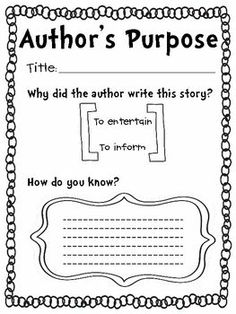 Teaching Author's Purpose (1st or 2nd grade lesson)