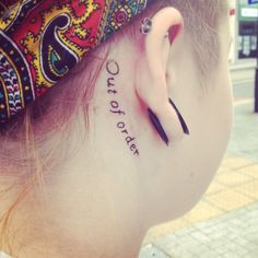 iamnotamidgett: Got my tattoo done! I'm deaf and my ear is 'out of order' hahahahaha Deaf Tattoo, Loss Tattoo, I Tattoo, Badass Tattoos, Body Art Tattoos, New Tattoos, Cool Tattoos, Tatoos, Awesome Tattoos