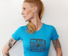 35 MM Camera T Shirt Cotton Crewneck Ladies by CausticThreads, $20.00